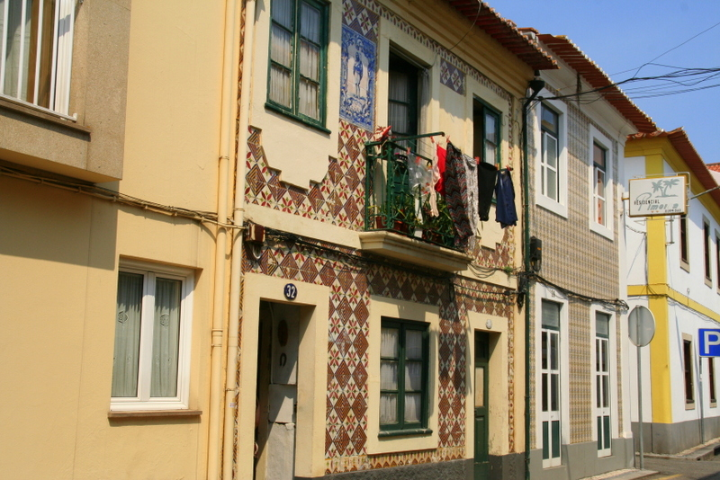 Beautiful tiled houses of Aveiro, Portugal