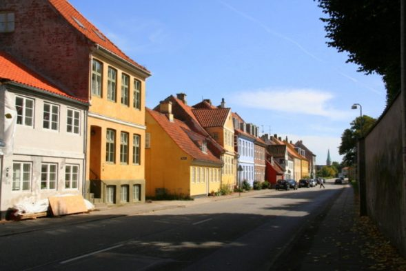 colourful pretty houses at Helsingor, North Sealand, Denmark, one of the top places to visit in Denmark, especially a day trip from Copenhagen