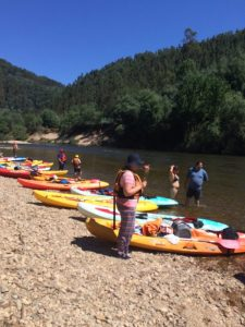 Break time on the Mondego River Portugal, Kayaking trip