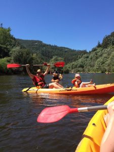Kayaking on the Mondego river in Portugal with the family