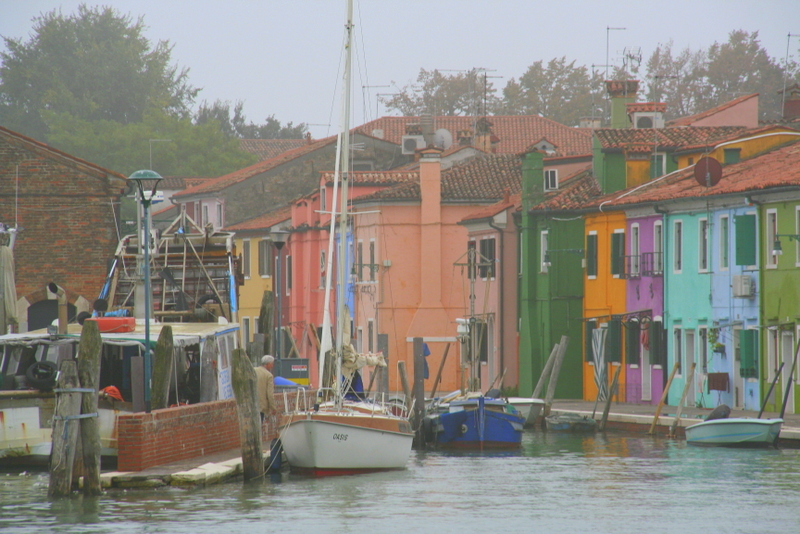 Burano in the fog - you can see why they painted those houses all sorts of rainbow colours can't you!