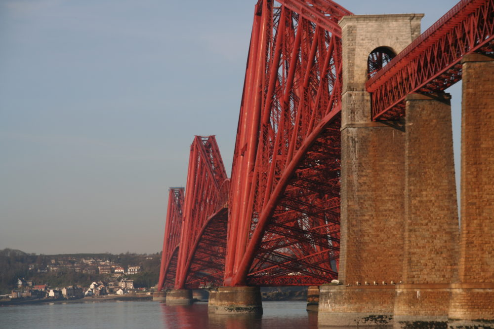 The Forth Rail bridge spans the Firth of the Forth and connects North Queensferry to South Queensferry.