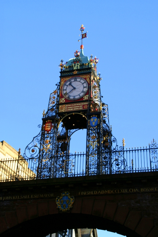 The Eastgate clock sits at the top of The Rows in Chester, on the Roman walls. It's the 2nd most photographed clock after Big Ben.