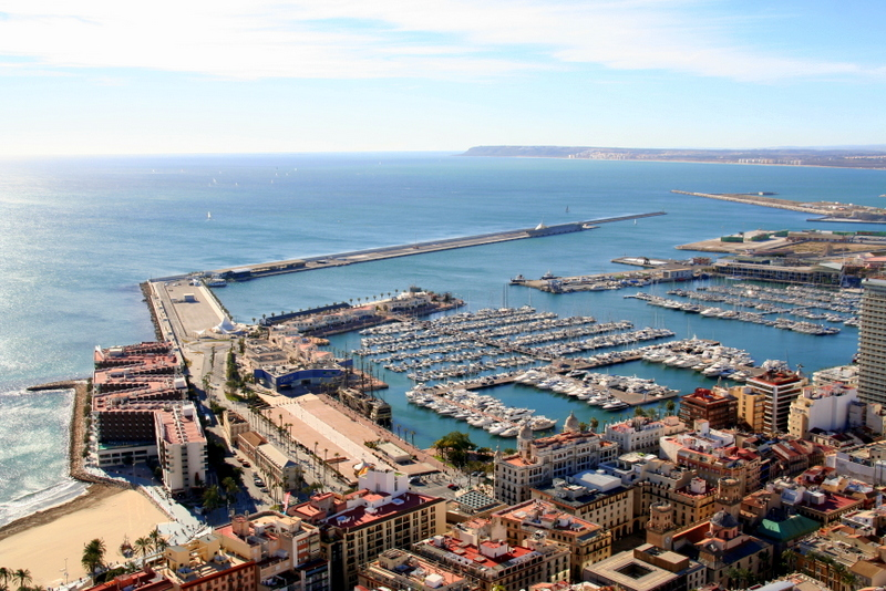 The view from the castle Santa Barbara in Alicante is one of the best in the city. You must visit the castle while you are here - it's free and the history is fascinating. You can see it from several stops on the walking tour of Alicante.