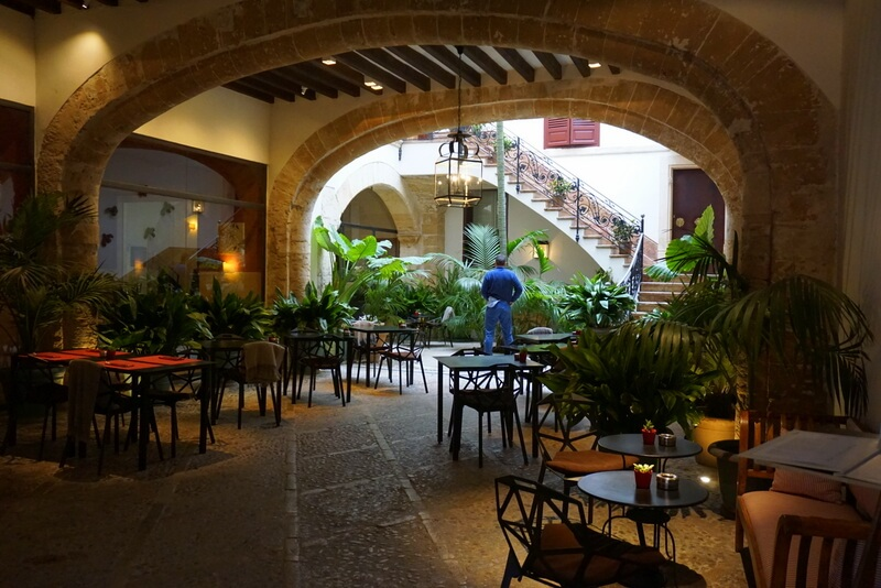 The old town in Palma is brimming with hidden gems like the prettiest courtyards and staircases. This is a courtyard from one of the best Beautique hotels in Palma Old town