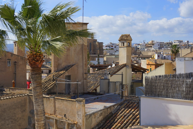 roof top views over the old town of Palma. One of the highlights of a city break to Palma is visiting the many rooftop bars in the city for a glass of wine and a view.