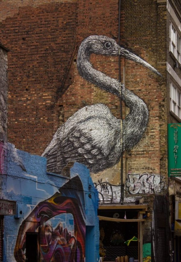 Crane by street artist ROA in Londons Spitalfields area