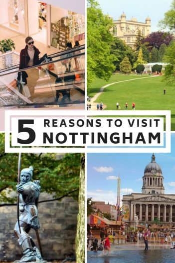 Great shopping, the best food scene, beautiful buildings and so much more in Nottingham. Put Nottingham on your UK roadtrip and discover one of the best cities in England. #Nottingham #UK #England #Eastmidlands
