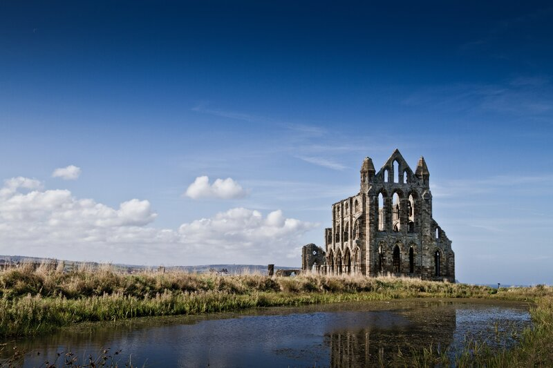 Whitby in North Yorkshire, England. The gothic abbey that inspired Bram Stokers Dracula.