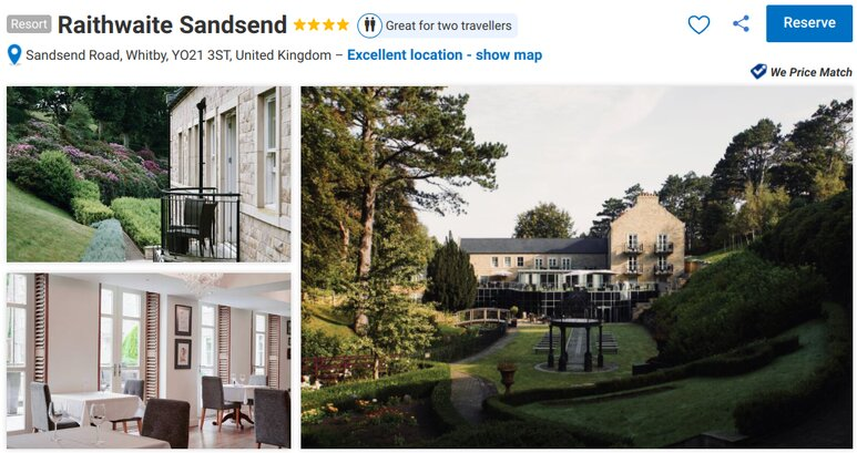 Romantic hotels in Yorkshire, England. The Raithwaite hotel and spa at Sandsend
