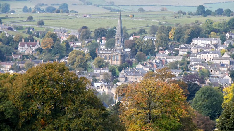 Birdseye view of Bakewell town in the Peak District
