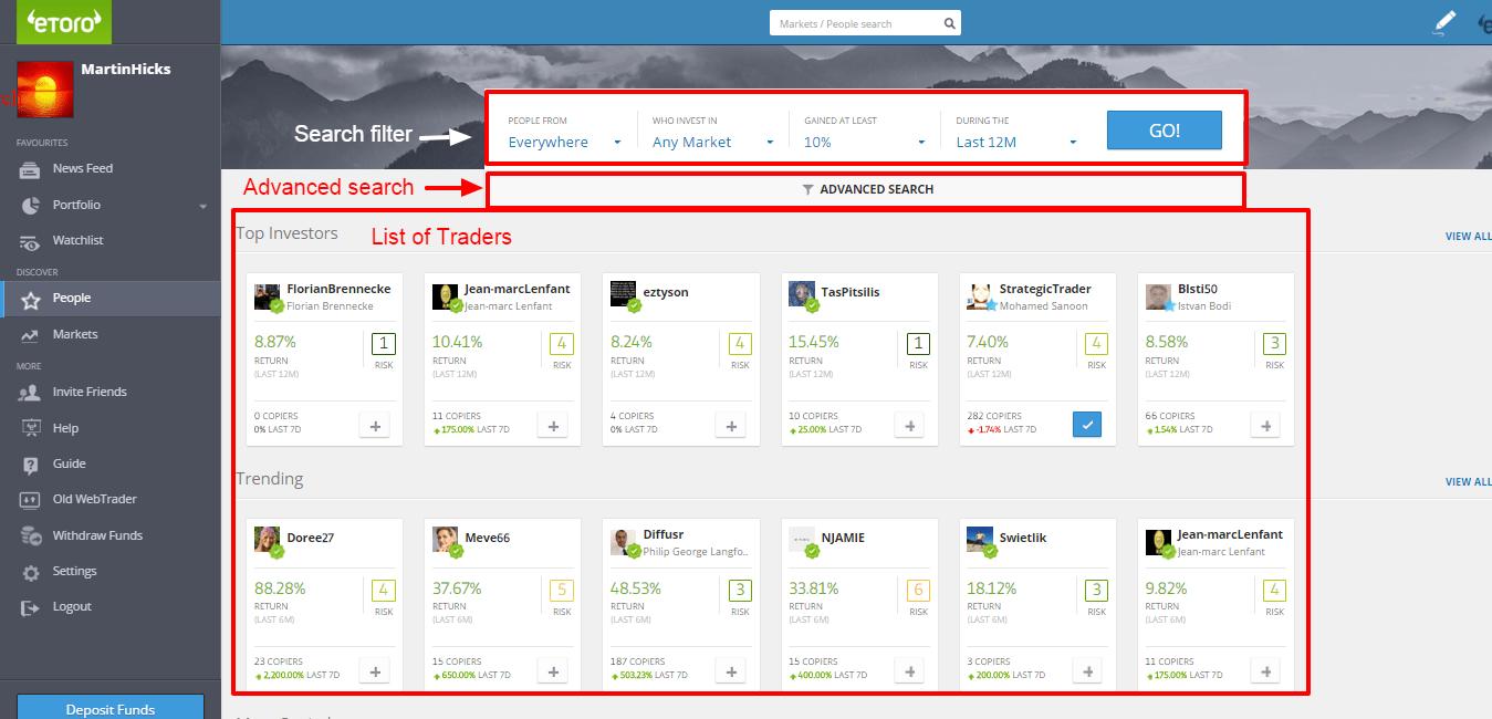 best eToro traders Search Screen