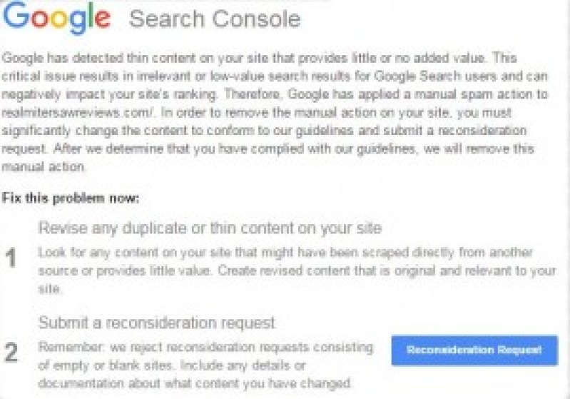 Google Thin Content Penalty