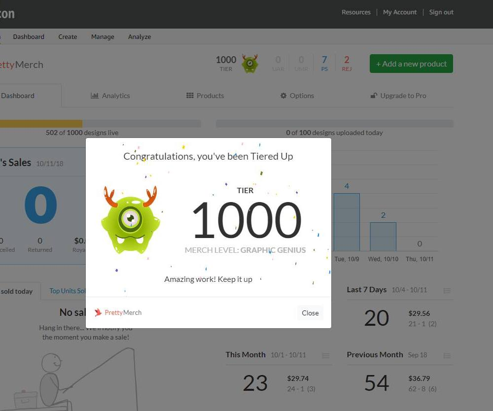 Merch by Amazon Tier 1000
