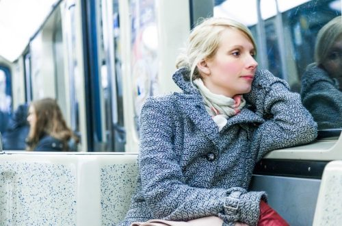 woman with incontinence on subway