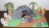 Papercraft imprimible y armable del conjunto diorama Historia de Pascua / The Easter Story. Manualidades a Raudales.