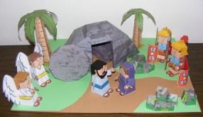 Papercraft imprimible y armable del conjunto diorama Historia de Pascua / The Easter Story. Manualidades a Raudales.
