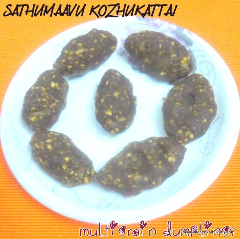 Here is a healthy Sathumaavu recipe that's great for kids and adults alike - Sathumaavu Kozhukattai - the perfect snack for your evening tea this summer!