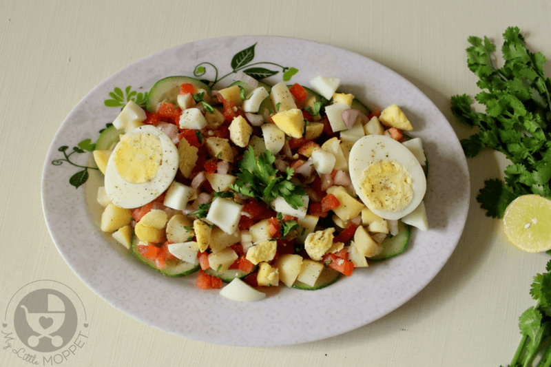 Boiled eggs are bursting with nutrition, but may not always be welcomed by kids! Try out this Indian style egg salad that's also loaded with veggies!