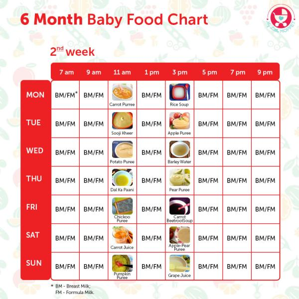 6 Months Baby Food Chart With Indian Recipes