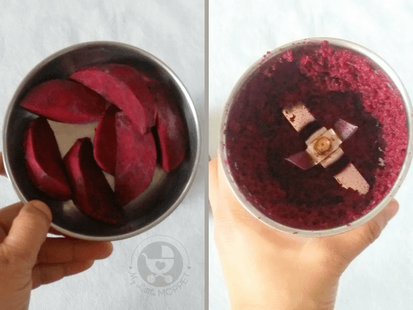 grind beetroot slices without adding water