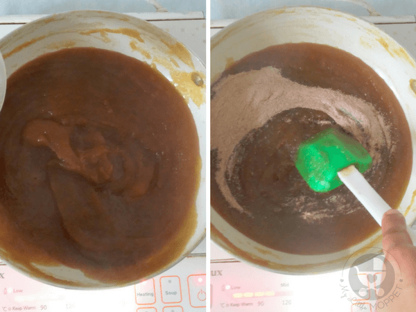 add spice mix and mix with a spatula