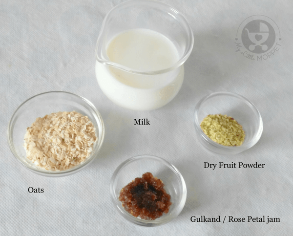 ingredients for gulkand oats payasam