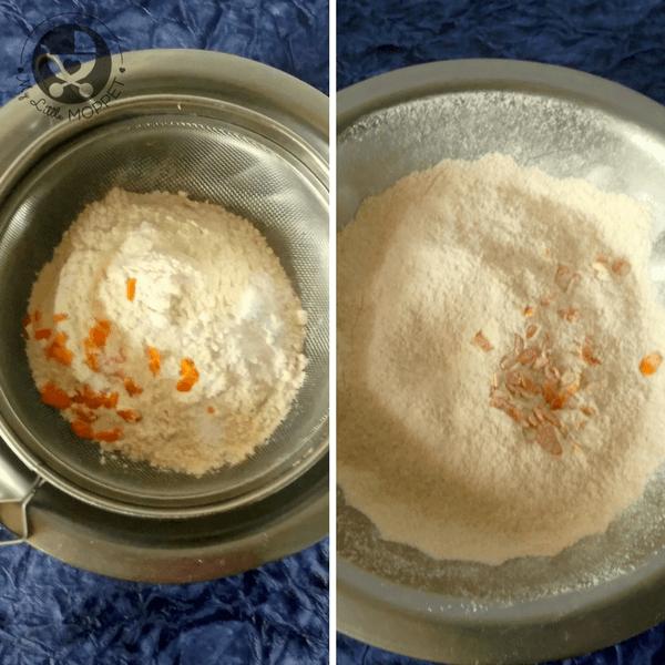 sieve the wheat flour with baking powder, baking soda and orange zest
