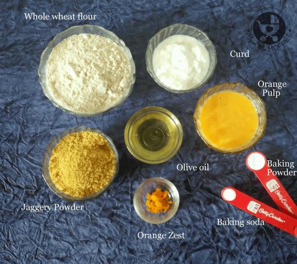 Ingredients for orange muffin