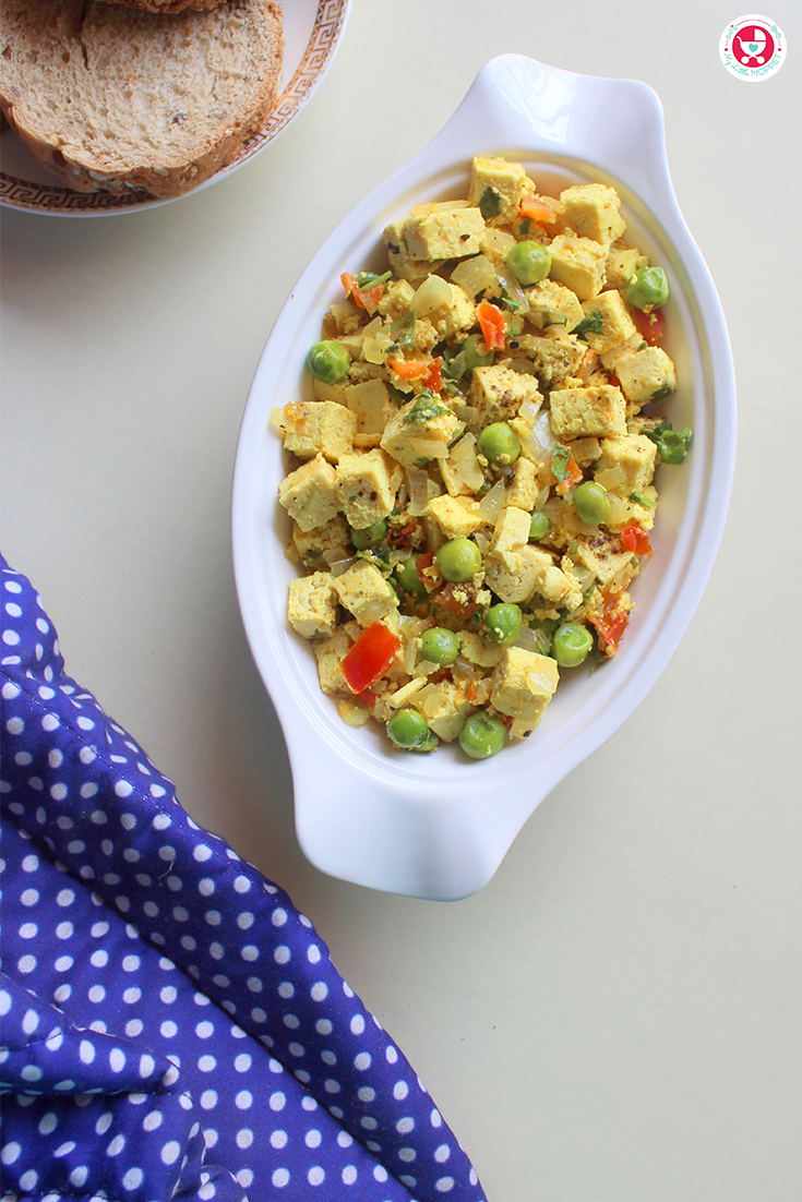 Tofu bhurji /scrambled tofu is one of the best nutritious dishes which tastes great. This can be made in a jiffy and served with chapati, paratha or bread.