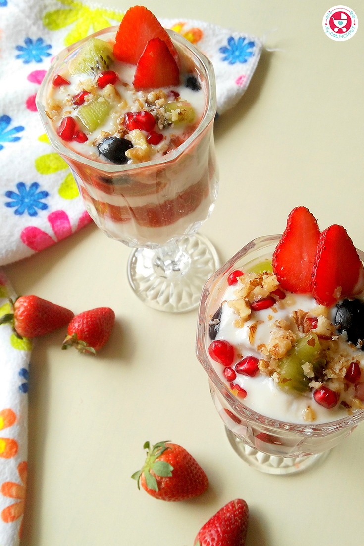 Yogurt fruit Parfait recipe is a scrumptious and colorful dessert recipe, which can be made easy and served as a protein rich, gluten -free breakfast.