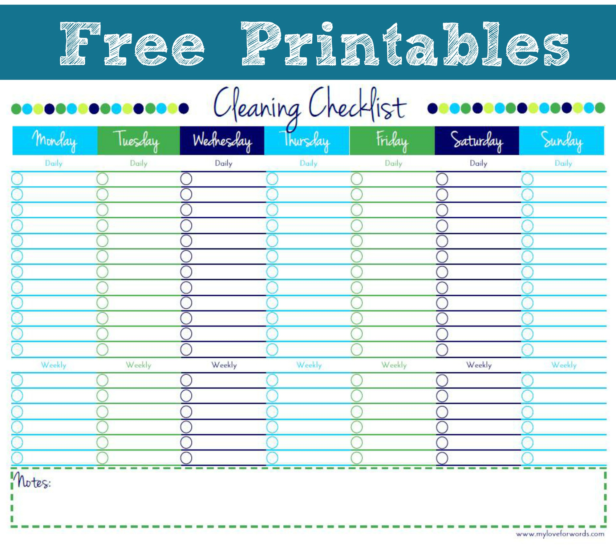 Cleaning Checklist Free Printable