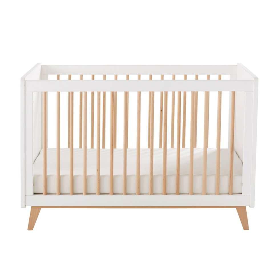 lit à barreaux pour bébé vintage blanc et bois maison du monde