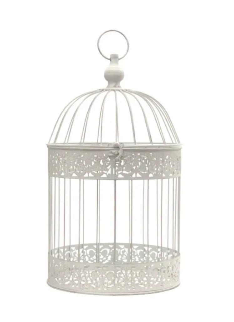 cage à oiseaux blanche