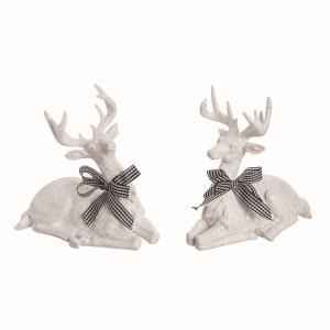 Rennes de Noël blanc avec noeud en buffalo check