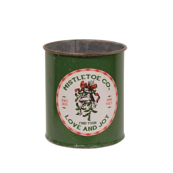 pot en métal vert mistletoe