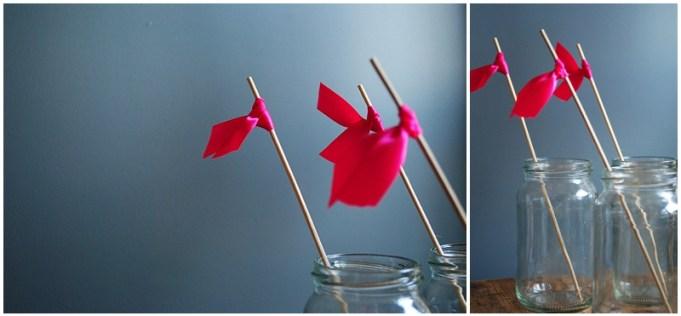 DIY ribbon drink flags