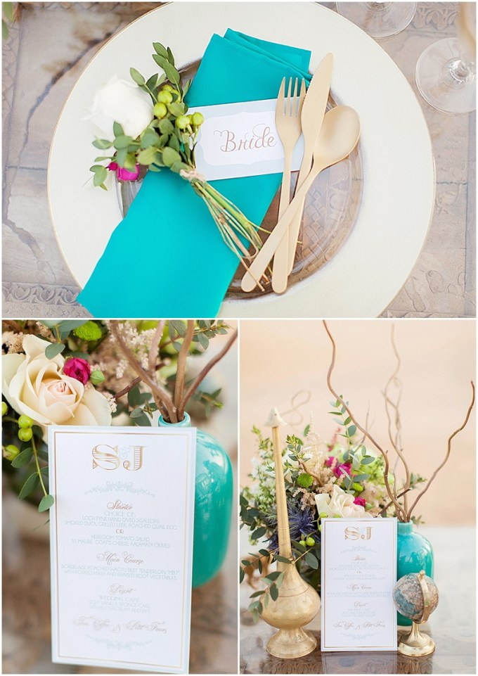 Styled Shoot - Dubai Desert - Mint green, teal and gold. Photography by Maria Sundin