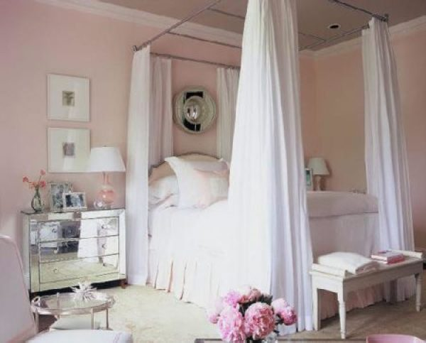 """Pale Pink Bedroom with Mirrored Accents"""