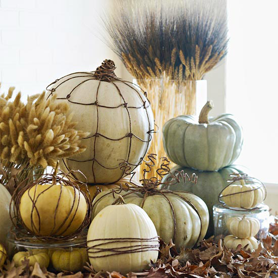 pumpkins dressed with wires Decorate Your Home For Fall