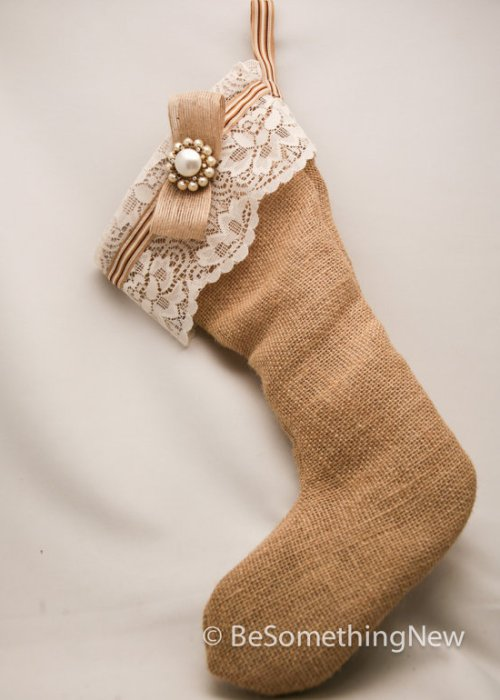 """Burlap and Lace Stocking"""