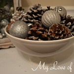"""Frosted Pine Cone Display"""
