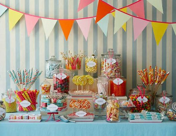 """Old Fashioned Colorful Candy Buffet"""