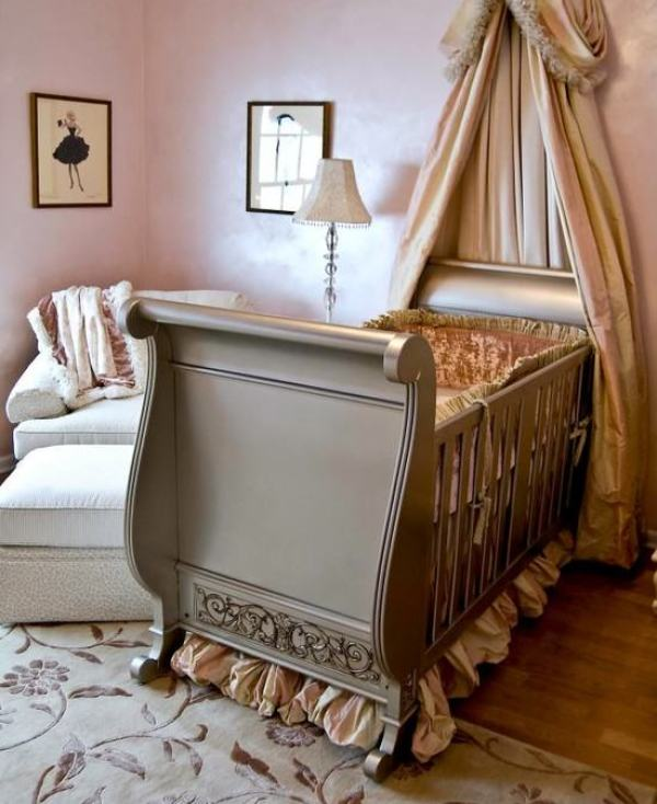 """beige bed crown crib canopy"""
