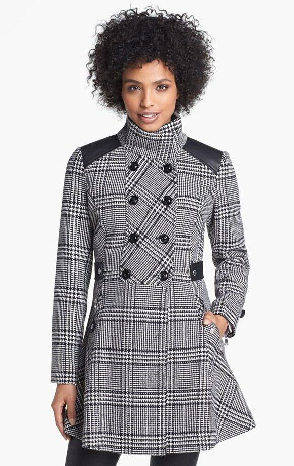 Guess Houndstooth Plaid Coat