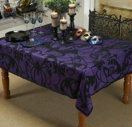 black and purple spider tablecloth