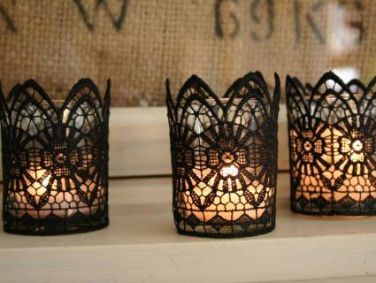 diy lace votive candle holders