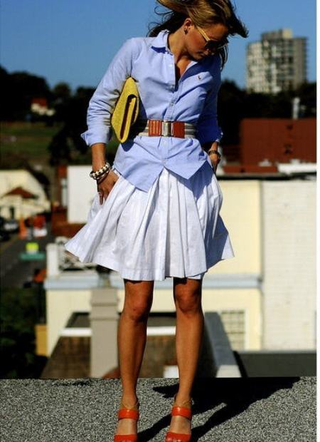 chambray shirt with belt and skirt