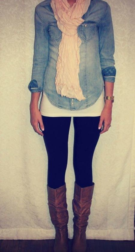 chambray shirt with black leggings