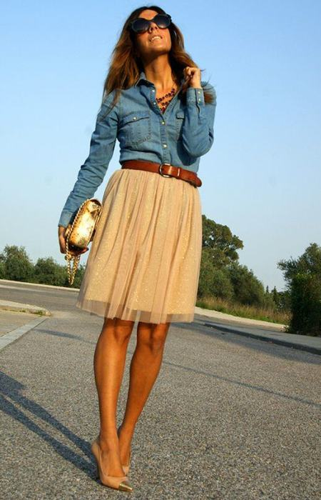 Chambray Shirt with Glam Skirt